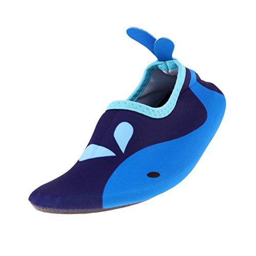 Baoblaze Kinder Jungen Mädchen Weiche Aquaschuhe Badeschuhe Schnelltrockene Strandschuhe Wasserschuhe Barfußschuhe Rutschfeste Schwimmen Tauchen Schuhe - Blau, M