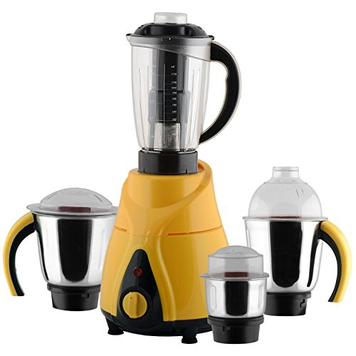 Anjalimix Juicer Mixer Grinder Spectra 750 Watts With 4 Jars (yellow & Black), Dry, Wet, Chutney, Filter Juicer