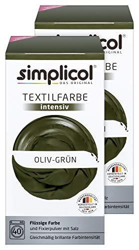 Spray-flasche Set Pack (Simplicol Textilfarbe intensiv (18 Farben), Oliv-Grün 1814 2er Pack, Dunkelgrün: Einfaches Färben in der Waschmaschine, All-in-1 Komplettpackung)