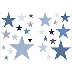 Wandtattoo Kinderzimmer Wandsticker Set Sterne in Einem zarten Pastell Blau und