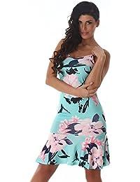 Damen Sommerkleid Strandkleid Latino-Kleid Blumenmuster Ärmellos Schulterfrei Spaghettiträger Knielang Verschiedene Farben Und Größen