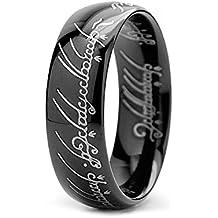 Anillo del poder del Señor de los anillos versión negro talla 7-Sauron Lord of the Ring HIGH QUALITY