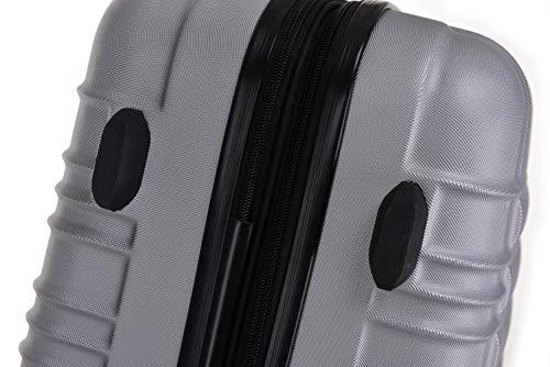 BEIBYE BEIBYE 2088 Zwillingsrollen Reisekoffer Koffer Trolleys Hartschale M-L-XL-Set in 13 Farben (Silber, XL)