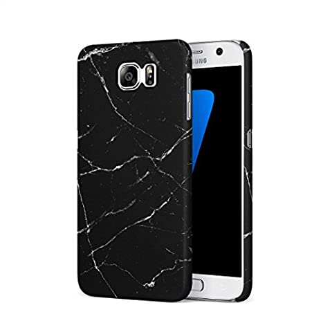 Black Onyx & White Strips Marble Print Hard Thin Plastic Phone Case Cover For Samsung Galaxy S7
