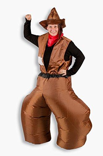 Schnäppchen Kostüm - Schnäppchen 4tlg. Aufblasbares Kostüm Cowboy Karneval Junggesellenabschied Verkleidung Western