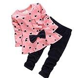 Baby Mädchen Set Kleidung, FNKDOR 0-3 Jahr Langarm Herz Druck Tops + Hosen (24-36 Monate, Rosa)