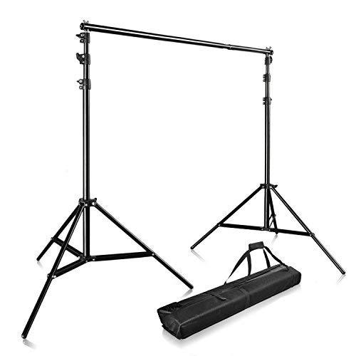 PHOTO MASTER Hintergrundsystem 3m x 2,8m Profi Fotostudio Set Teleskop Hintergrundsystem Studioset inkl. Tragtasche Stativ und Support System