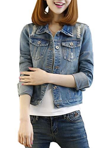 43044f5b46a54c Damen Individuelle Perlen Spitze Nähen war Dünn Jeansjacke Mantel Outwear  Kurz Denim Jacke Spitzenbolero Tops (XXXL
