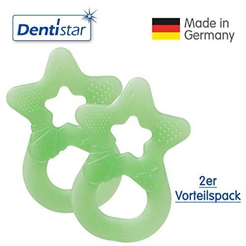 Dentistar® Beißring im 2er-Set - Stern - Zahnungshilfe für Babys ab 3 Monate - Kühlbeißring Baby aus TPE - Made in Germany – Hell Grün