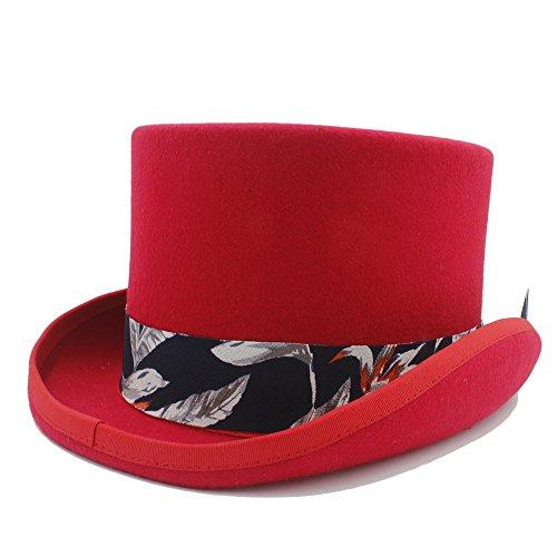 SHENLIJUAN DIY Steampunk Top Hat mit blauem Muster Stoffhut für Frauen (Farbe : Rot, Größe : 57cm) -