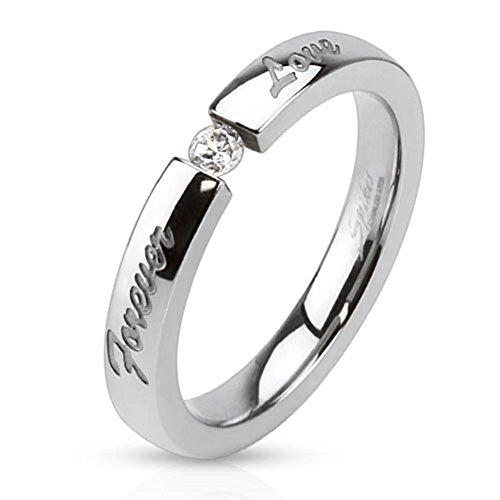 Paula & Fritz anello in acciaio inox, larghezza 3mm con incisione Forever Love e Zirconi disponibile anello misure 47(15)-61(195), acciaio inossidabile, 53 (16.9), colore: silver, cod. R-M3099_70