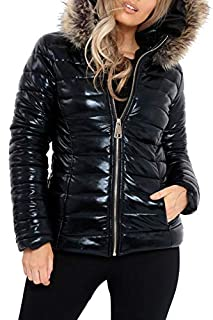 Womens Leopard Shiny Wet Look PU Fur Jacket Ladies Puffer Hooded Coat Top#(Black Zip Up Hooded Jacket#UK 12#Womens) (B07J3HBSRF) | Amazon price tracker / tracking, Amazon price history charts, Amazon price watches, Amazon price drop alerts