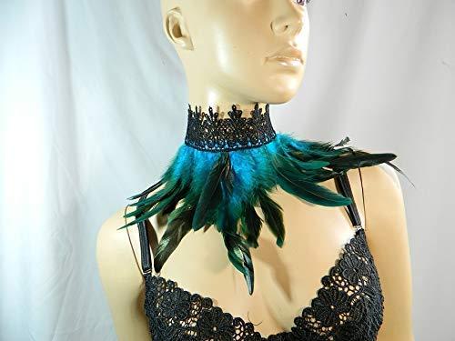 Feder Halsband Kragen türkis Choker Kropfband Kette Vogel Kostüm Pfau Karneval (Vintage Bauchtanz Kostüm)