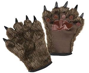 Boland 00829Guantes Hombre lobo con piel, unisex-Adultos, color marrón