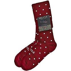 BRUCLE Calcetines alta elegantes hombre, algodón, otoño invierno, made in Italy, lunares rojo