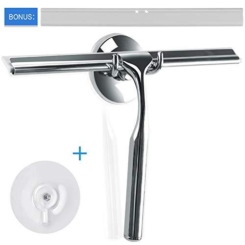 Ulinek Abzieher Dusche Edelstahl Duschabzieher Fensterabzieher mit starkem Saughaken,ideal für Spiegel Bad und Dusche,Inkl. 1 Ersatzlippe