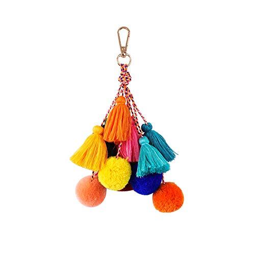 Yazilind Farbe Puffer Ball Pompon Quaste Anhänger Keychain Frauen Mädchen