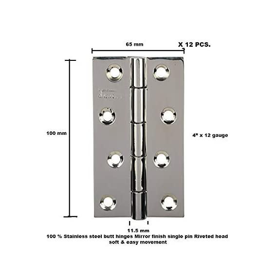 4 inch Premium Stainless Steel Single Pin Door Hinge (Mirror Finish,Pack of 12, 100mm x 250HMR) Lubrication Inside,SSiSKCON Brand