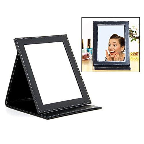 Itian Miroir de maquillage,tablette pliante avec housse en cuir PU, grande, noire