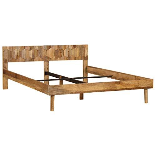 vidaXL Massives Mangoholz Bettrahmen 1,8m Bettgestell Doppelbett Holzbett