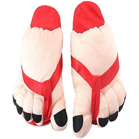 V. punto da adulto donna Babbo Natale Inverno Caldo Morbido Pantofole, Uomo, Red Feet, taglia unica