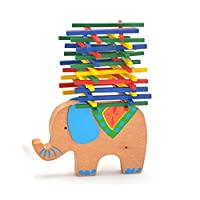 Stacking Game Balance Game, Colourful Sticks, Stacking Elephant, Camel, Floating Beam, Wooden Puzzle, Stacking Building Blocks, Table Game, Elephant Balancing Toy For Children