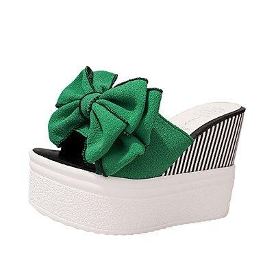 RUGAI-UE Estate Moda Donna Sandali Casual PU Scarpe comfort tacchi a piedi all'aperto,Black,noi10.5 / EU42 / UK8.5 / CN43 Green