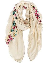 DAMILY Coton Châle Foulard Etole Echarpe avec Fleurs Brodées pour Femmes  Multicolores 8b6f985350a6