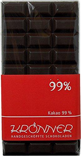 Krönner 99% Edelbitter Schokolade, handgeschöpft, das ist Kakao pur, 100 g Tafel, Kakao 99%
