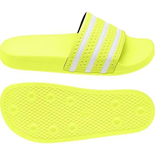 adidas Originals Badelatschen Adilette EE6182 Neon Gelb Weiß, Schuhgröße:48.5