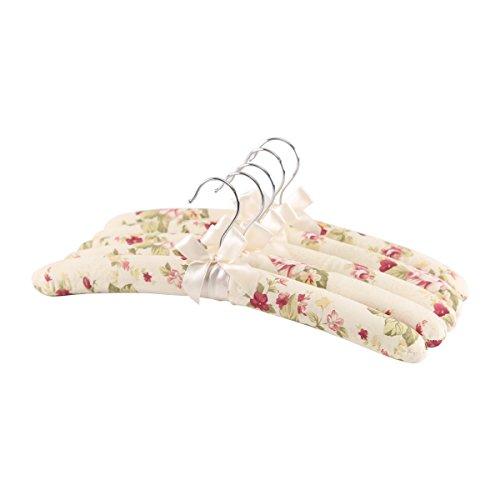 Baumwolle Gepolstert Kleidung (Baumwolle Stoff beschichtet Kleiderbügel, bunt, Satin gepolsterte Kleiderbügel mit Korrosionsschutz, knitterfrei für Kleidung, 5Stück)