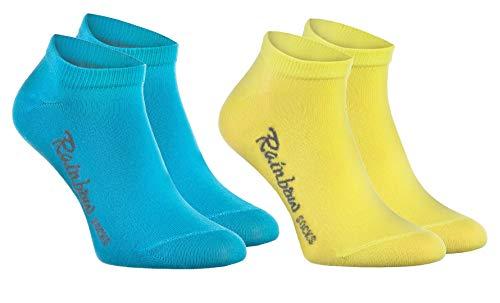 Rainbow Socks - Jungen und Mädchen Sneaker Socken Baumwolle - 2 Paar Multipack - Türkis Gelb - Größen: EU 24-29 (Türkis Gelb)