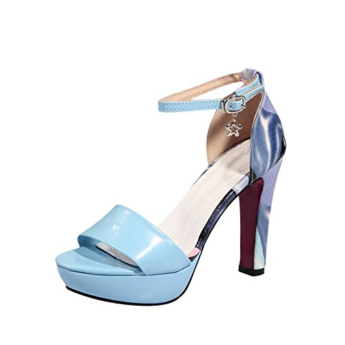 Mee Shoes Damen modern reizvoll Schnalle ankle strap mehrfarbig Knöchelriemchen open toe Plateau Sandalen mit hohen Absätzen Blau