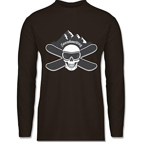 Wintersport - Snowboard Totenkopf - Longsleeve / langärmeliges T-Shirt für Herren Braun