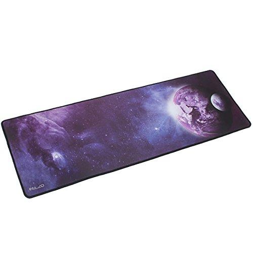 ELZO XXL Tapis de Souris Gaming avec Imperméable et Antidérapant Base en Caoutchouc 900 * 300 * 4 mm Game Mouse Pad (Planète)