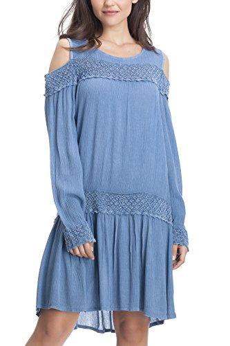 Laura Moretti - Kleid mit offenen Stickereien und Schulteröffnungen Blau