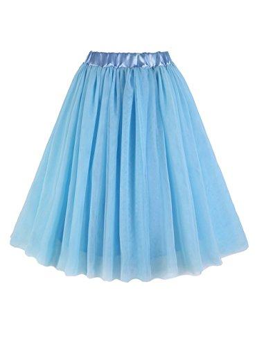 CoutureBridal® Jupe Tutu Femme Courte 3 Couche Elastic Ceinture Princesse Tulle Bleu