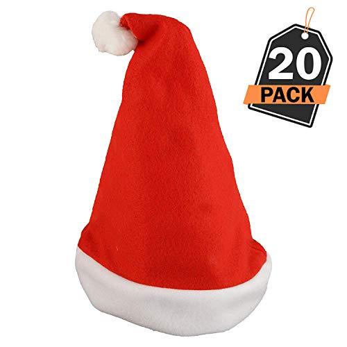 20 Sombreros de Santa Claus - Gorros Rojos de Papá Noel para Celebración de Navidad - Accesorio para Disfraz - Articulo para Fiesta de Cena o Fiesta de Disfraces de Temporada Navideña