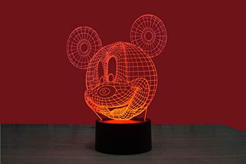 SanQ-Seven Neuheit Nette LED Mickey Mouse Bunte 3D Nachtlicht USB-Schnittstelle kreative 3D visuelle Note Kinder Geburtstag (Mickey-mouse-projektor)