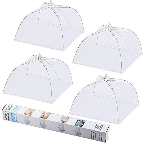 Update Mesh-Material 4 Pack Ipow Fliegenhaube 43x43cm Großer Taschenschirm Lebensmittel Abdeckung Zelt vor Insekten schützen, Faltbar/Weiß (Papier Drücken Hut)