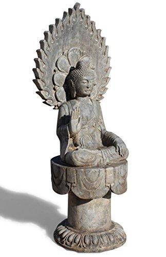 Asien Lifestyle Garten Buddha Statue m. Aureole aus Naturstein Steinfigur China
