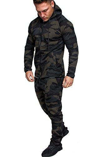 Amaci&Sons Camouflage Herren Sportanzug Jogginganzug Trainingsanzug Sporthose+Hoodie EX-02 Camouflage Braun XXL