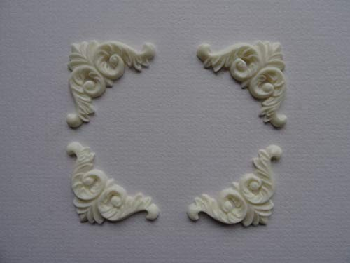 Dekorative Ecken X 4Aufnäher Shabby Chic Möbel Zierleiste O19A (Off Weiß)