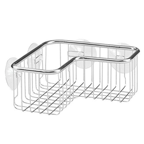 InterDesign Forma Ultra Estantería esquinera, esquinero para baño de acero inoxidable y plástico y con ventosas, plateado