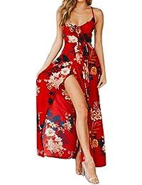 LILICAT Frauen Strandkleid Sommerkleid Böhmen Abendkleid Rückenfrei  Partykleid Cocktailkleid Ballkleid Elegant Vintage Retro Blumenmuster Hohe  Taille 9d88d24a7f