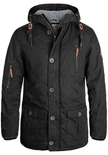 SOLID Clark Herren Winterjacke mit hochabschließendem Kragen und Kapuze aus 100% Baumwolle Black (9000)