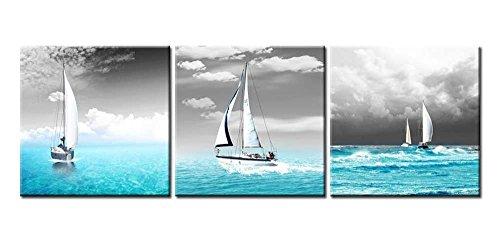 Lienzo Pintura para Decoración del hogar azul de océano tropical y sailingboats en negro Sky 3piezas Panel giclée de cuadros moderno arte enmarcado y estirado sobre la imagen para decoración de la sala de estar fotos Impresiones de fotos sobre lienzo de paisaje
