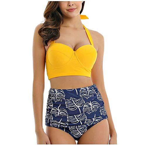 QIMANZI Bikini Sets Damen Bademode Push Up Bikinis Badeanzug Zweiteiler Strand Swimwear Swimsuits Beachwear(C Gelb,M)