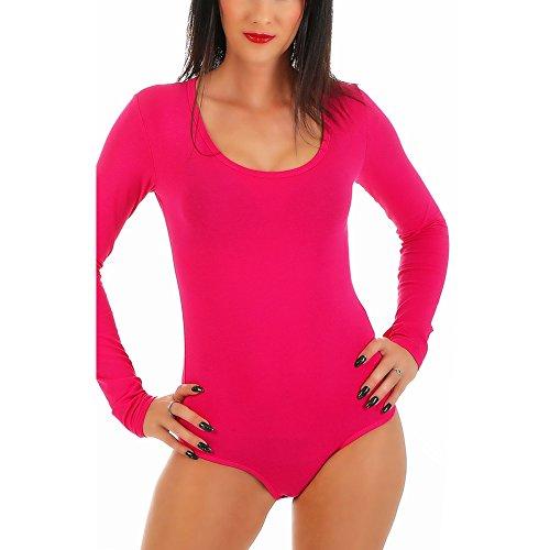 Frauen Für Bodys Pink (BALI Lingerie - Damen Langarm Body mit U-Neck - S M L XL (S/M - (36/38), Pink))