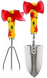 Cute Tools Edelstahl Garten Schaufel und drei Zinken Rechen–Landschaftsbau Instrument, handbemalt Holz Griff in den USA, langlebige Hof und Garten-aus cutetools.–Art für verursachen, honduranischen rot Sonnenblume
